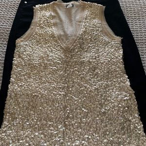 J crew gold sequined holiday sweater vest
